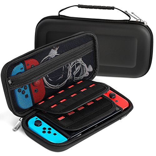 Nintendo Switch Carrying Case, Fosmon Multipurpose Travel Case Protective Hard Shell with Zipper Mesh Pocket, 20 Game Card Holder for Switch Console, Accessories, Cables, Joy-Cons (Black)