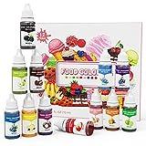 EISHION Colorante Alimentario Líquido Set Colorante para Reposteria para Bebidas Pasteles Macarons 12Colores 10ml