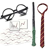 YoHold Novelty Wizard Glasses Frame, Bolt Scar Tattoos, Wizard Wands and Striped Tie for Halloween Christmas Birthday, School Cosplay Party Costumes Accessories, Magical Party Supplies Decorations; 19PCS