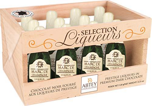 Abtey Chocolatier Marc de Champagne - Licor de chocolate en caja de madera para 12 botellas - 155 g