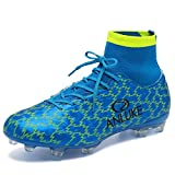 ANLUKE Men's Athletic Hightop Cleats Soccer Shoes Football Team Turf Blue 43