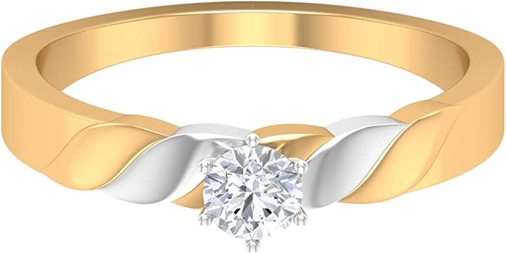 Rosec Jewels – Solitaire Wedding Ring with HI-SI 1/4 CT Diamond, Two Tone Ring, 14K Gold