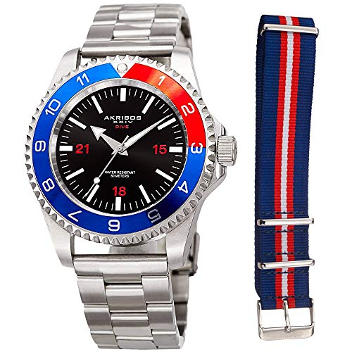 Akribos XXIV Men's Diver Watch – Silver Stainless Steel and Red White and Blue NATO Strap – Black Dial – Round Analog - AK1002RDBU