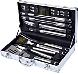 Grill Tool Set, Kacebela BBQ Tools, Grill Utensil Set with Storage Case for Outdoor Barbecue Grilling (Stainless Steel,19-Piece)