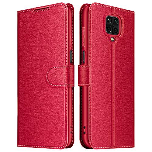 ELESNOW Cover per Xiaomi Redmi Note 9S / Note 9 PRO, Flip Custodia in Pelle PU Premium per Redmi Note 9S / Note 9 PRO (Rosso)