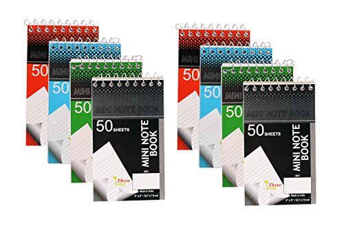 Personal Mini Notebooks, 3x5-Inch, College Ruled, White, 50 Pages per, Pack of 4 Colors: Black, Blue, Green, Red from Northland Wholesale. (2-Pack, 8 Mini-Notebooks)