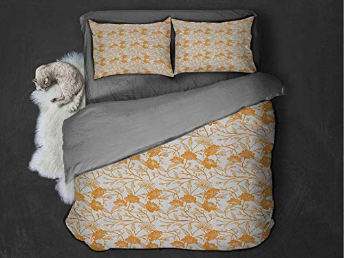Toopeek Orange and White 100% washed microfiber bed set Abstract Drawing of Flowering Stems Blooming Buds Nature Coming Alive Super soft and breathable duvet cover (Full) Orange White