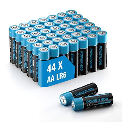 POWERADD Batterie Alcaline AA Confezione da 44 Pile Stilo AA da 1.5V