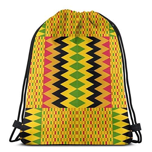 QUEMIN Happy Easter Drawstring Bag, Library of Kente Cloth Tote Mochila Mochila para Mujeres Hombres Gym Sack Bag para Senderismo Yoga Snack Storage Bag