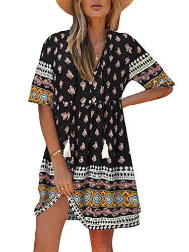 Kidsform Sommerkleid Damen Kleider V-Ausschnitt Strandkleider Einfarbig A-Linie Tunika Kleid Langarm Minikleid Boho Knielang Rock S-v Schwarz XXL