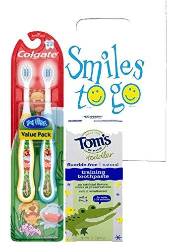 Wild Animal Safari 3pc Bright Smile Toddler Trainning Set! 2pk Soft Manual Toothbrush & Toddler Fluoride Free Toothpaste! Plus Dental Gift Bag & Tooth Saver Necklace!