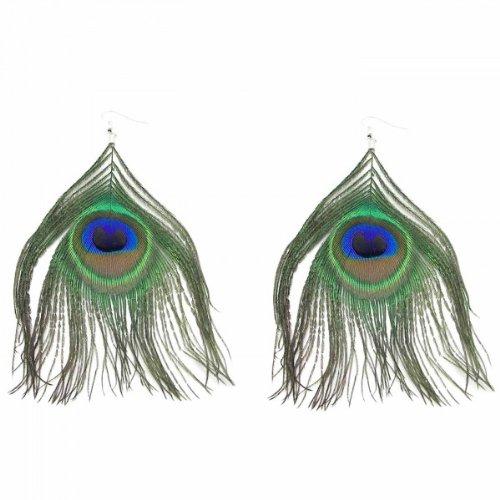 tumundo 1 Paar Feder-Ohrringe Ohr-Schmuck Ohrhänger Pfau Auge Boho Indianer Hippie Damen Ohrstecker Vintage Fasching