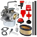 HUZTL 640152 Carburetor for Tecumseh 640152A 640023 640051 640140 HM80 HM90 HM100 8 HP-10 HP Engine Snow Blower Mower 5000w Generator with 33268 Air Filter Spark Plug Throttle Control Knob