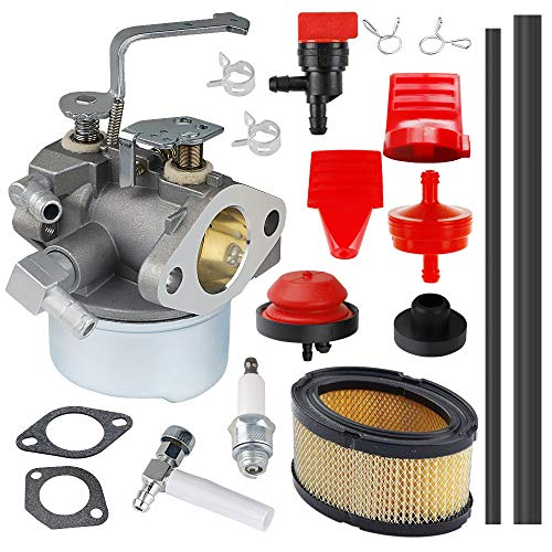 HUZTL 640152 Carburetor for Tecumseh 640152A 640023 640051 640140 HM80 HM90 HM100 8 HP-10 HP Engine Snow Blower Mower 5000w Generator with 33268 Air Filter Spark Plug Throttle Control Knob