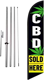 CBD Sold Here Advertising Feather Banner Swooper Flag Sign with 15 Foot Flag Pole Kit and Ground Stake