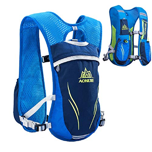 TRIWONDER Hydration Pack Backpack 5.5L Outdoors Mochilas Trail Marathoner Running Race Hydration Vest (Blue - Only Vest)