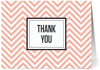 Thank You Cards – 36 Pack – Chevron 'Thank You' Coral – 6 Unique Designs – GRAY ENVELOPES INCLUDED – Blank Greeting Card – Glossy Cover Blank Inside – By Note Card Café
