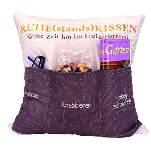 Kamaca Originelles Dekokissen Kissen mit 3 Taschen zum selber Befüllen Größe 43x43 cm tolles Geschenk für EIN gelungen Sofaabend Filmabend Öko Tex (Ruhestandskissen)