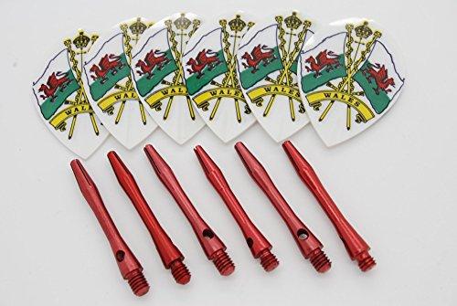 Pear Form Wales Dart Flights und Aluminium Stiele Set, 2 flights / 2 stems