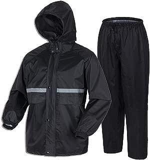 LiuHong Men' Waterproof rain Suit Lightweight Reflective Rainwear for Outdoor Sport Work (Jacket & Trouser Suit)