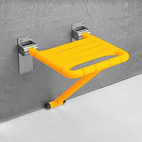 Duschklappsitz mit Stützfüßen, Gelb Klappsitz Dusche Hocker, Platzsparend Hochklappbar, Rutschfeste Sitzfläche, Belastbar bis 200 kg, Wandbefestigung Duschhocker / Badestühle / Badsitz, 400 x 400 mm