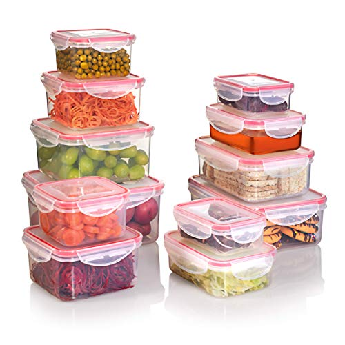 SEALCO Food Storage Containers with Lids – Reusable Plastic Containers – BPA-Free, Stackable,...