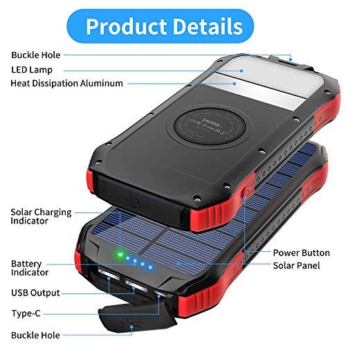ORITO Cargador Solar Port/átil Powerbank Solar 16000mAh Bateria Solar Movil con Carga R/ápida 2 Salidas USB y 1 Entrada USB-C 15 LED Linterna SOS 4 Modos para iOS Samsung Galaxy y m/ás