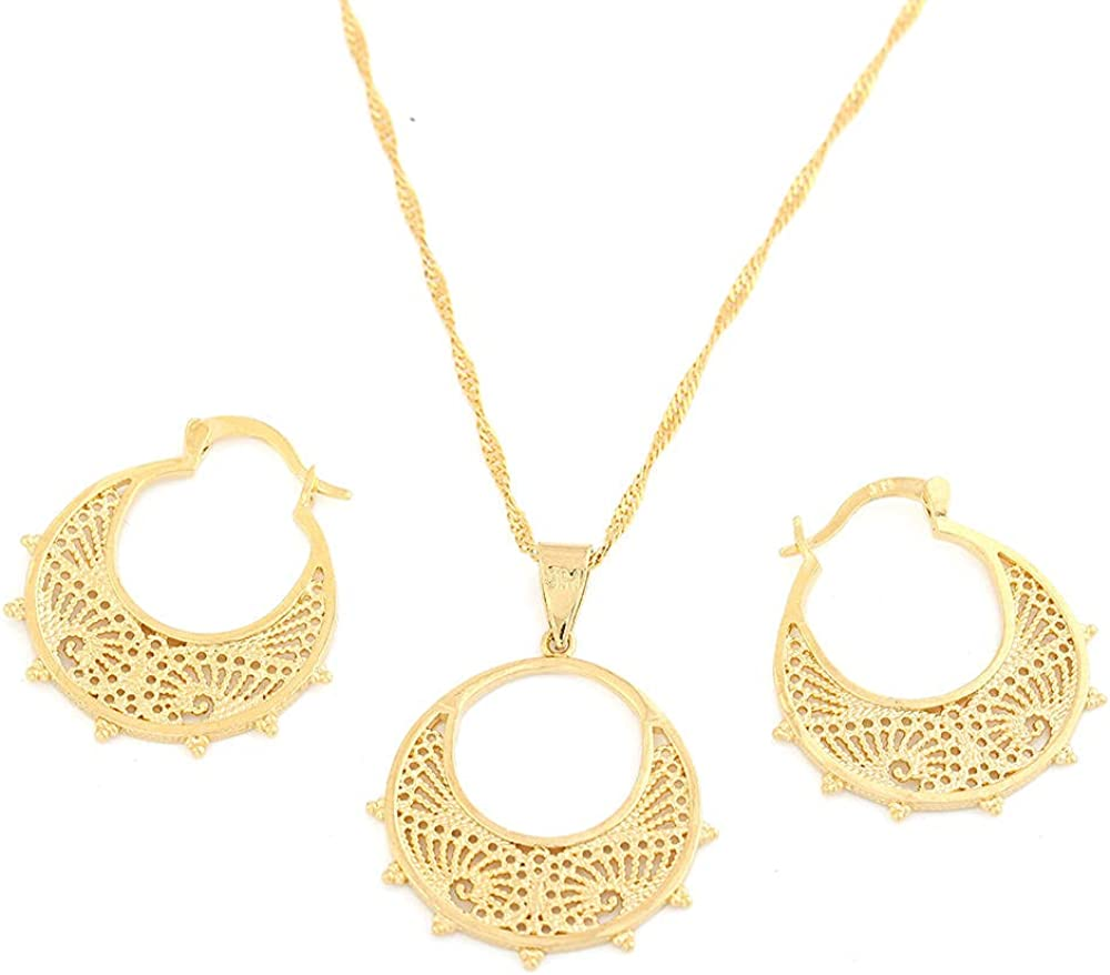 n Trendy Necklace Earrings Gold Color African Bride Jewelry Sets