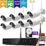XMARTO Wireless Security Camera System 8CH 1080p NVR 8pcs 1.3MP Wireless Security IP Cameras, 1TB Hard Drive (Built-in Router, Plug N Play, Mobile View, Night Vision, supports Audio Microphones)