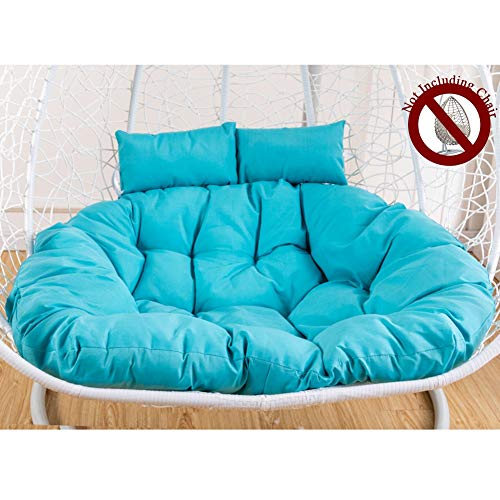 HYXQYYMY Double Hanging Chair Cushion with Ergonomics Pillow,Large Seat Cushions Swing Chair Pads Thicken Hanging Chair Pad Papasan Patio Seat Cushion,Waterproof Polyester Fabric (Color : Blue)