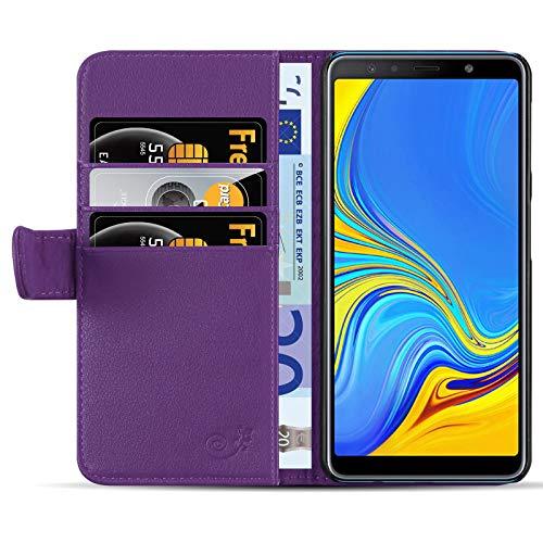 JammyLizarD Lederhülle für Samsung Galaxy A7 2018 | Ledertasche [ Classic Wallet Tasche Series ] Leder Book Hülle Hülle Flip Cover Schutzhülle mit Kartenfach, Lila