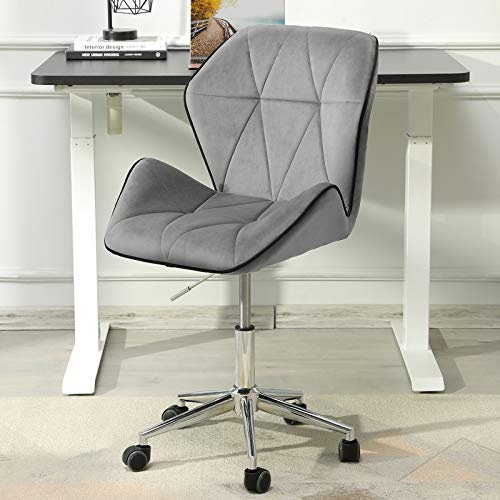 DICTAC Office Chair armless Velvet Desk Chair with Wheels Mid Back Ergonomic Computer Chair Adjustable Fabric Swivel Task Chair for Home, Office Grey