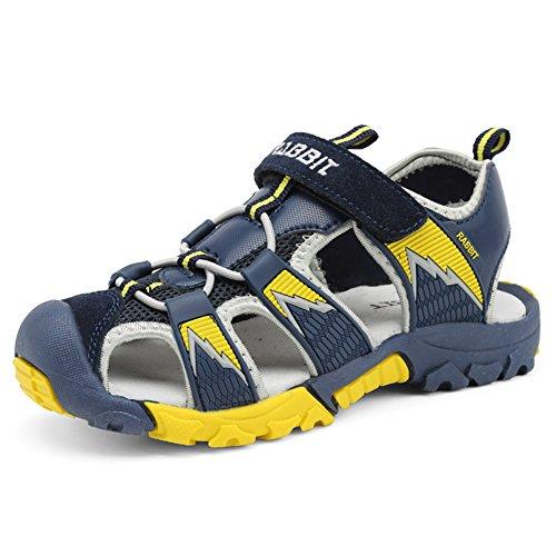 Sommer Geschlossene Sandalen Jungen Outdoor Sports Trekking Schuhe Atmungsaktiv rutschfest Unisex-Kinder Strand Schuhe Weich Sohle Breathable Dunkelblau Gr.25