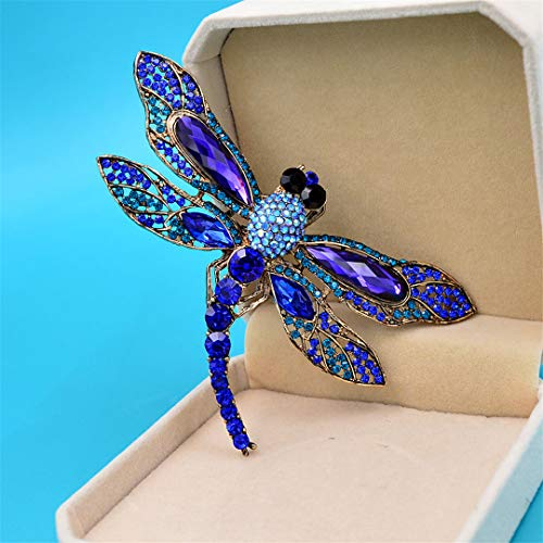 Rhinestone Large Dragonfly Brooches For Women Vintage Coat Brooch Pin Insect Jewelry 8 Colors Available Gift navy blue