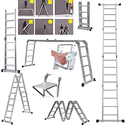4 Step Ladder-16 Step Ladder 4.7m 15.5FT- Scaffold estensibile multiuso Pieghevole leggero Pieghevole Pieghevole Pieghevole Piedini antiscivolo - Facile da conservare con vassoio degli attrezzi - Idea