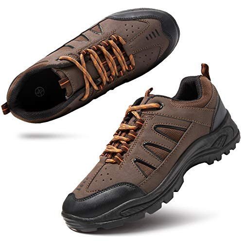 Women Hiking Shoes Athletic Outdoor Sneakers Non Slip Backpacking Trekking Walking Trails(Brown.US9)