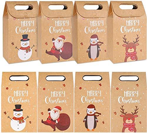 KAHEIGN 32Pcs Weihnachten Geschenktüten Wiederverwendbar Bastelpapier-Boxen aus Kraftpapier, 17,5x11x7cm Geschenktaschen Papiertüten für Geschenke Süßigkeiten Kekse Geschenkverpackungstaschen