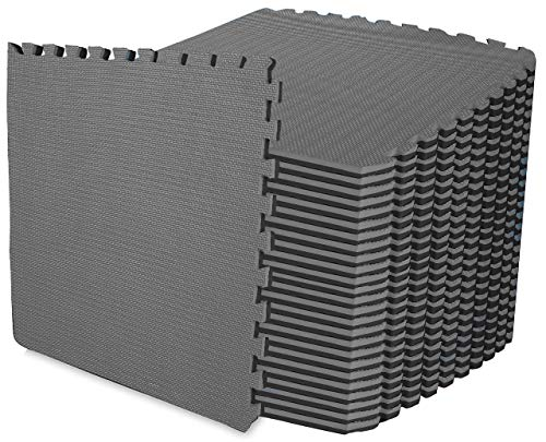 ComFy Mat EXTRA-THICK (2cm) Puzzle Exercise Mat, EVA Foam Interlocking Tiles, Protective Flooring for Gym & Workouts, (Cover32 sq.ft.)/ Black/Grey, 8 Tiles