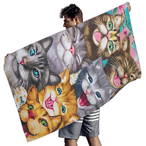 MINNOMO Lustige Haustier Katzen Gesichts Malerei Druck Badetuch Sommer Handtücher White 150x75 cm