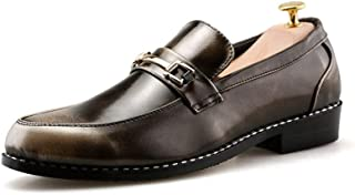 shangruiqi Men's Business Oxford Casual Solid Color Fashionable Metal Button Soft Cowhide Leather Formal Shoes Abrasion Resistant (Color : Gold, Size : 5.5 UK)