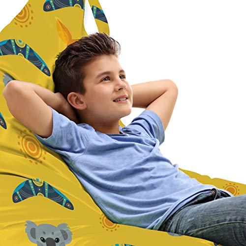 ABAKUHAUS Känguru Unicorn Spielzeugtasche Liegestuhl Lounger Stuhl, Aboriginal Art Boomerang, Hochleistungskuscheltieraufbewahrung mit Griff, Mehrfarbig