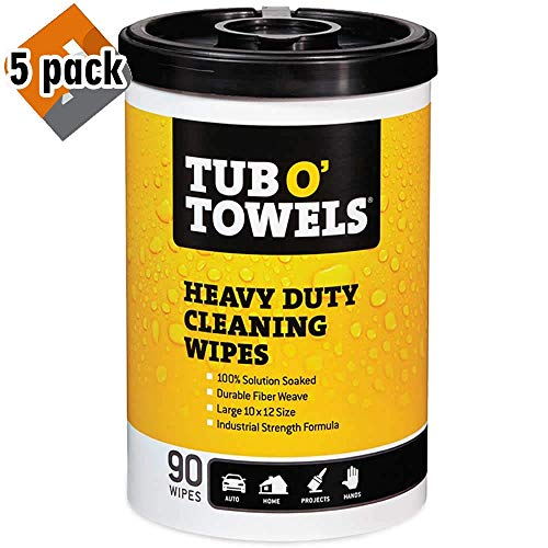 "Tub O Towels TW90 Heavy-Duty 10"" x 12"" Size Multi-Surface Cleaning Wipes, 90 Count Per Canister, 5 Pack New Hampshire"