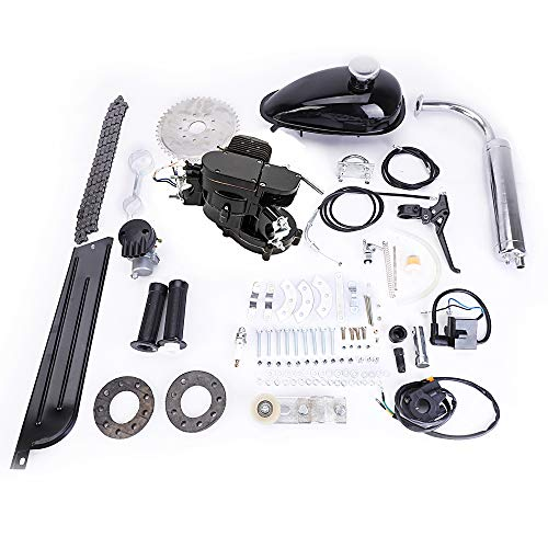 Full Set 80cc Bike Bicycle Motorized 2 Stroke Petrol Gas Motor Engine Kit Set Black For Motorized Bicycle