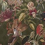 Samtstoff Dekostoff Velvet Samt Botanic Chic Dschungel