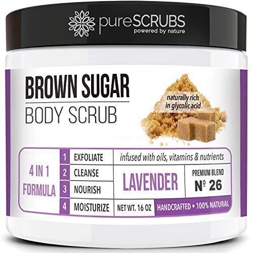 pureSCRUBS Premium Organic Brown Sugar LAVENDER FACE & BODY SCRUB Set - Large 16oz, Infused With Organic Essential Oils & Nutrients INCLUDES Wooden Spoon, Loofah & Mini Exfoliating Bar Soap