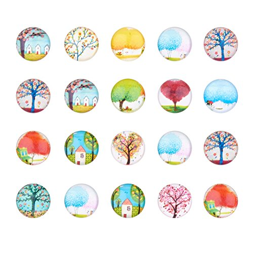 PandaHall 20 pcs Leben Baum Halbr& Kuppel Glascabochons Gemischte Farbe Größe 12x4mm