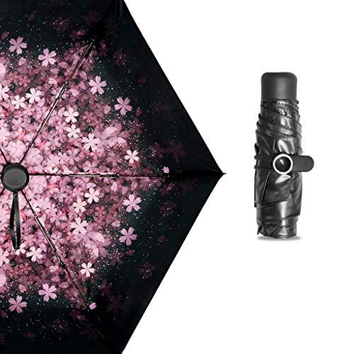 ZhuFengshop Paraplu Mini Printed Vouw Paraplu, Afstotende Paraplu's Zonbescherming Met Zwarte Lijm Anti UV Coating Reizen Paraplu, Blokkeren UV Draagbaar, Regenbestendig