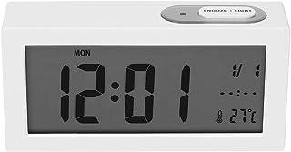 ساعة منبه رقمية غفوة ضوء ليلي تلقائي 12/24 ساعة منبه متعدد الوظائف منبه (أبيض)