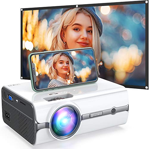 VANKYO Leisure 410W Mini WiFi Projector, 2020 Latest Update with Projector Screen Included, Portable Wireless Mirroring Projector with 1080P Supported for iOS/Android/TV Stick