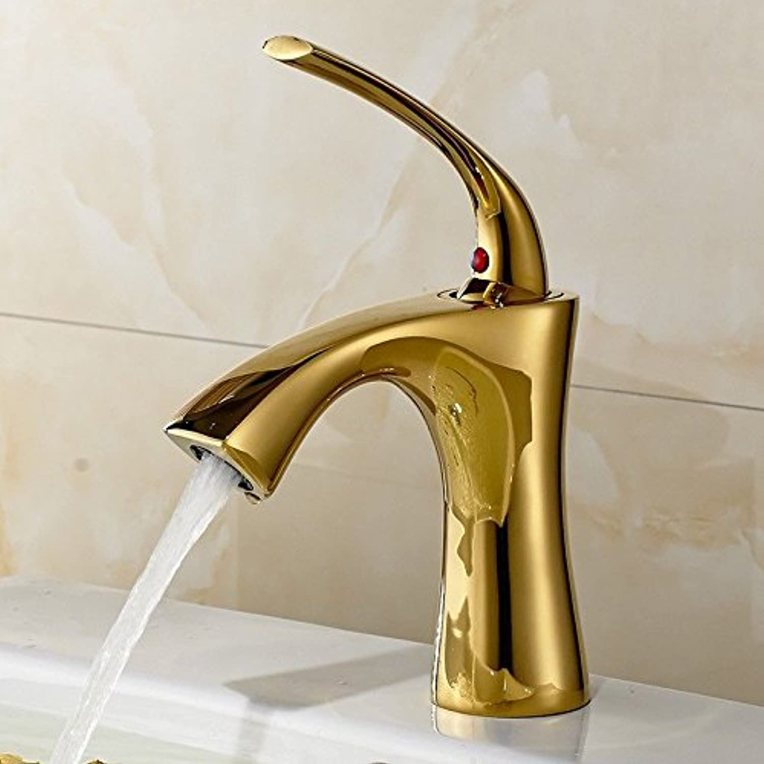 ETERNAL QUALITY Bathroom Sink Basin Tap Brass Mixer Tap Tap Tap Washroom Mixer Faucet Antique gold plated brass single handle one hole ceramic valve cold water bathroom basin mix e6c03a